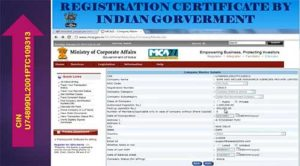 Registration certificate by indian government
