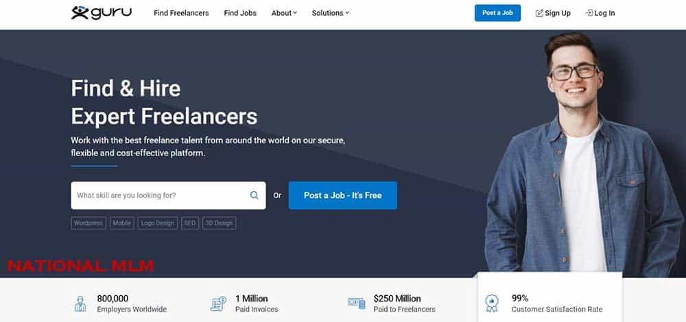 Guru- freelance website for beginners